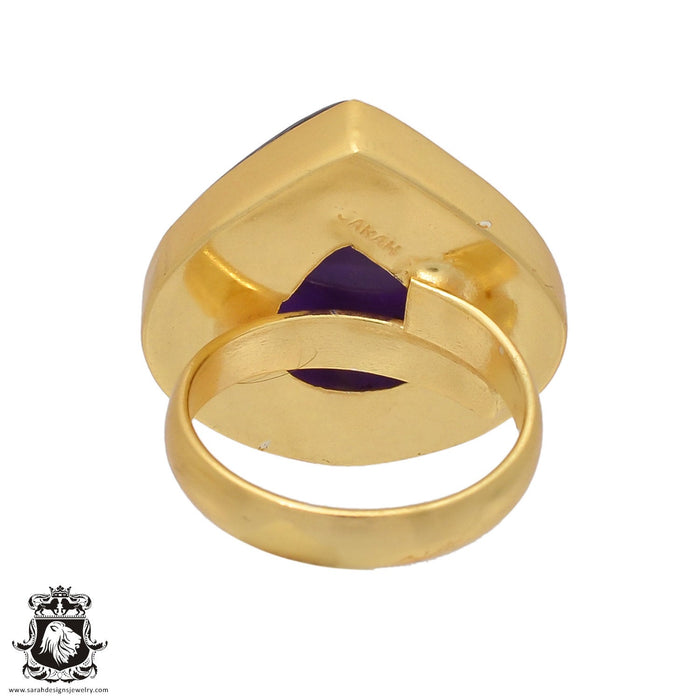 Size 6.5 - Size 8 Adjustable Amethyst 24K Gold Plated Ring GPR446