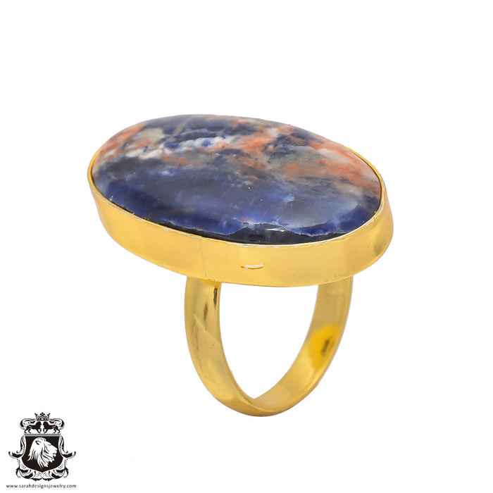 Size 7.5 - Size 9 Adjustable Sodalite 24K Gold Plated Ring GPR193