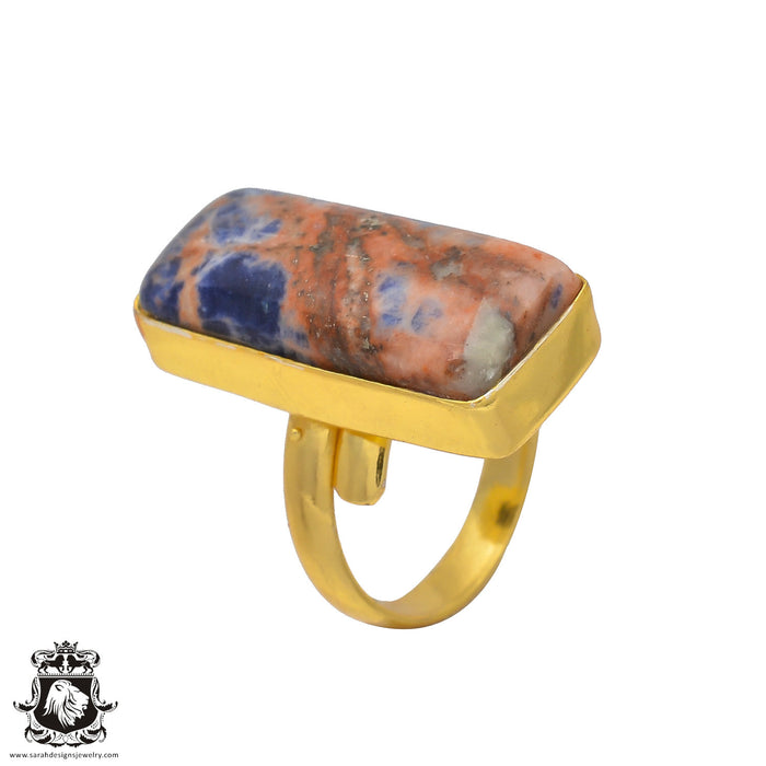 Size 8.5 - Size 10 Adjustable Sodalite 24K Gold Plated Ring GPR195