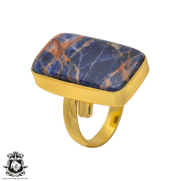 Size 6.5 - Size 8 Adjustable Sodalite 24K Gold Plated Ring GPR203