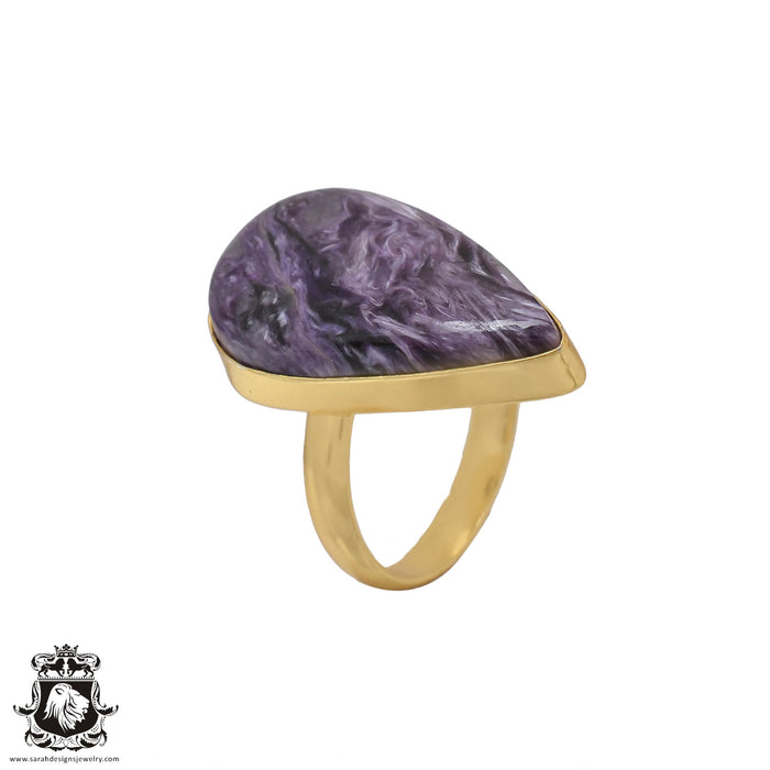 Size 9.5 - Size 11 Adjustable Charoite 24K Gold Plated Ring GPR478