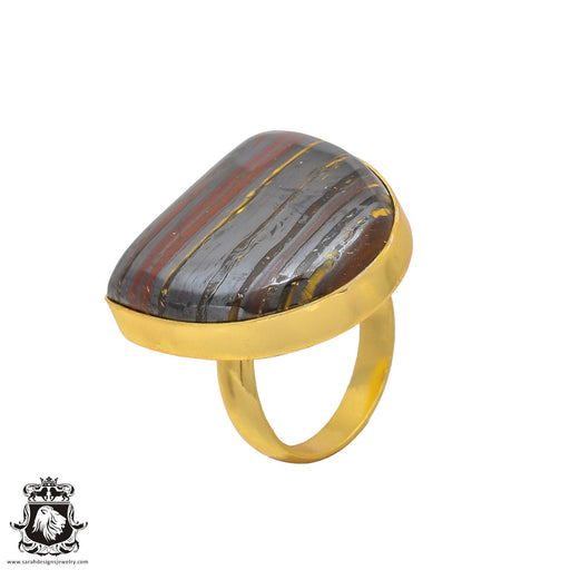 Size 8.5 - Size 10 Adjustable Marra Mamba Tiger's Eye 24K Gold Plated Ring GPR209