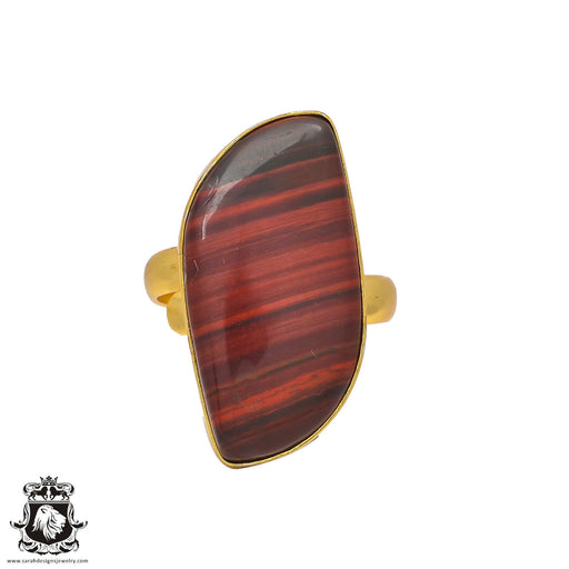 Size 8.5 - Size 10 Adjustable Red Iron Tiger's Eye 24K Gold Plated Ring GPR210