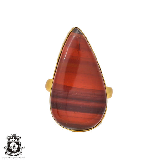 Size 10.5 - Size 12 Adjustable Red Iron Tiger's Eye 24K Gold Plated Ring GPR211