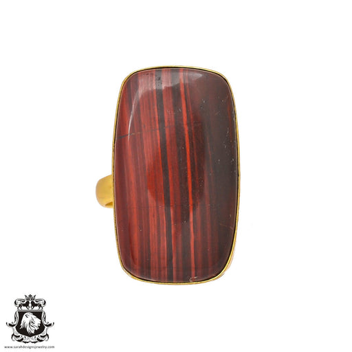 Size 8.5 - Size 10 Adjustable Red Iron Tiger's Eye 24K Gold Plated Ring GPR212