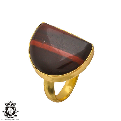 Size 6.5 - Size 8 Adjustable Red Iron Tiger's Eye 24K Gold Plated Ring GPR218