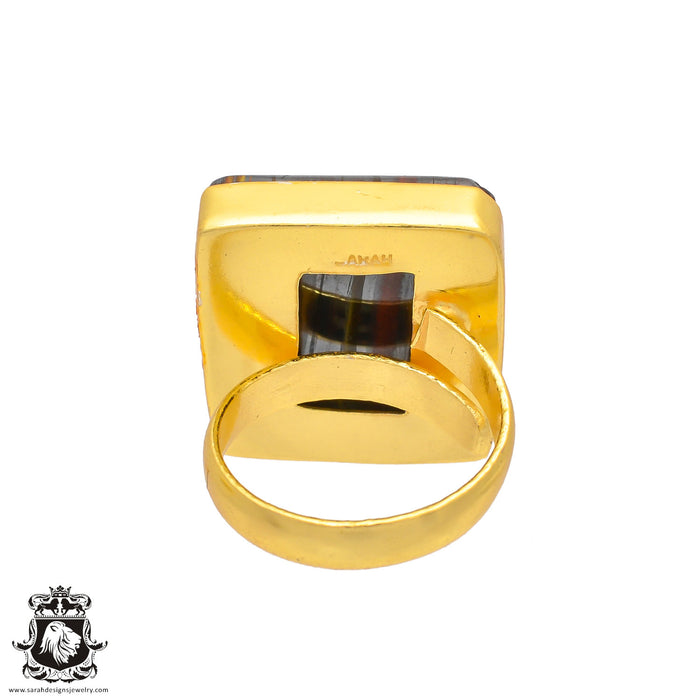 Size 7.5 - Size 9 Adjustable Marra Mamba Tiger's Eye 24K Gold Plated Ring GPR220