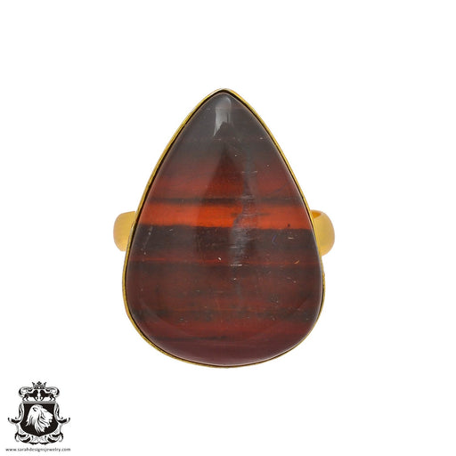 Size 9.5 - Size 11 Adjustable Red Tiger's Eye 24K Gold Plated Ring GPR224