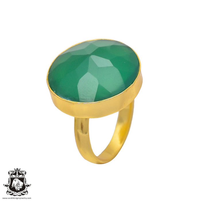 Size 8.5 - Size 10 Adjustable Green Onyx 24K Gold Plated Ring GPR226