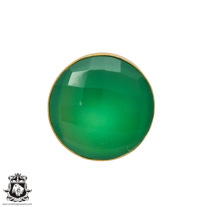 Size 8.5 - Size 10 Adjustable Green Onyx 24K Gold Plated Ring GPR227