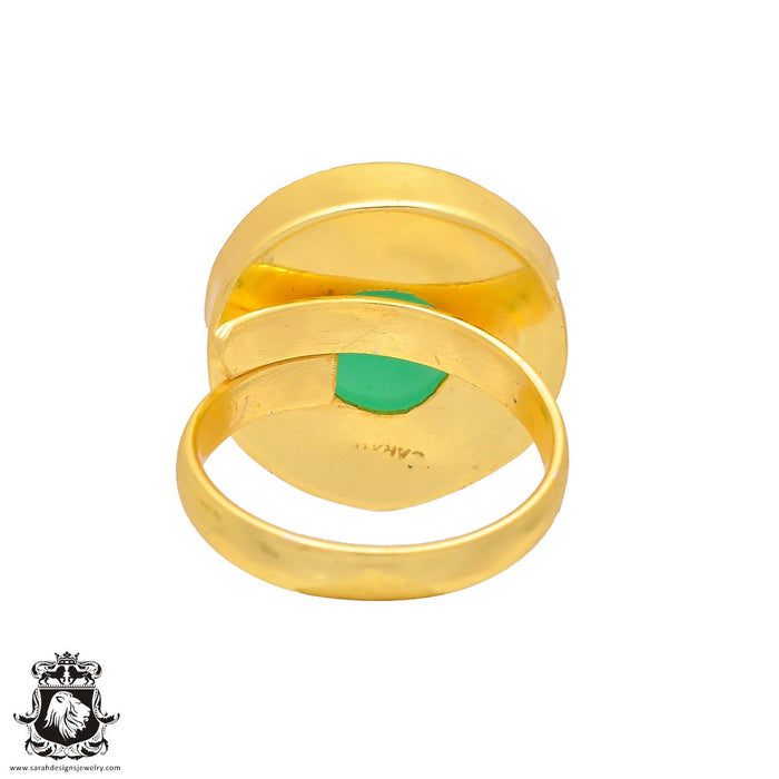 Size 8.5 - Size 10 Adjustable Green Onyx 24K Gold Plated Ring GPR228