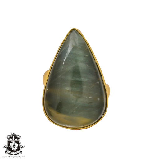 Size 6.5 - Size 8 Adjustable Moss Agate 24K Gold Plated Ring GPR236