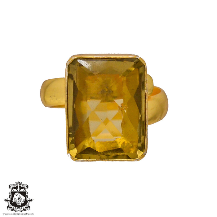 Size 8.5 - Size 10 Adjustable Lemon Quartz 24K Gold Plated Ring GPR246