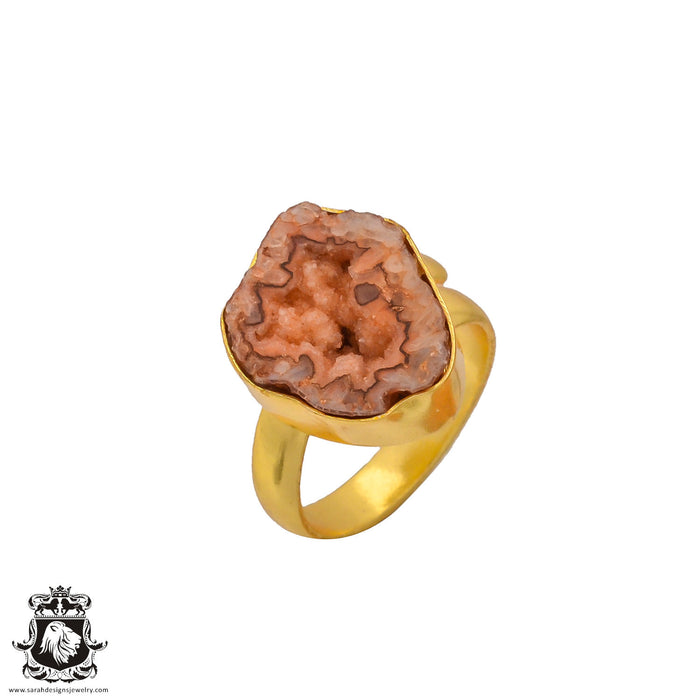 Size 7.5 - Size 9 Adjustable Rhodochrosite Stalactite Geode 24K Gold Plated Ring GPR261