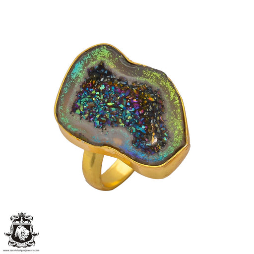Size 6.5 - Size 8 Adjustable Titanium Geode 24K Gold Plated Ring GPR266