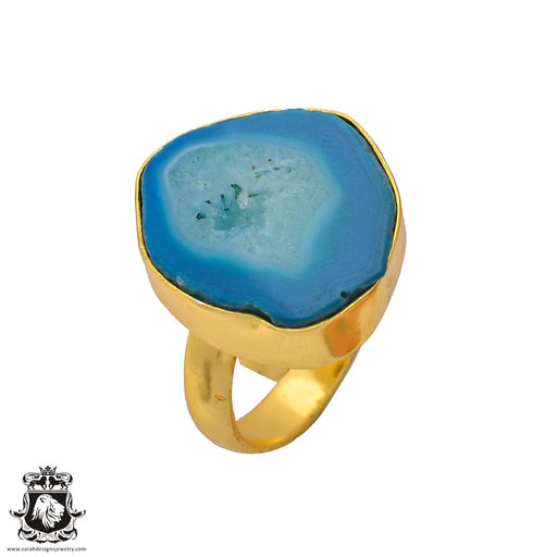 Size 7.5 - Size 9 Adjustable Ocean Agate Geode  24K Gold Plated Ring GPR268
