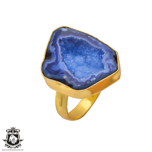 Size 9.5 - Size 11 Adjustable Ocean Agate Geode  24K Gold Plated Ring GPR275