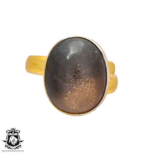 Size 6.5 - Size 8 Adjustable Star Sapphire Obsidian 24K Gold Plated Ring GPR290