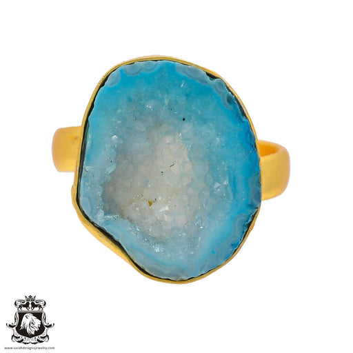 Size 9.5 - Size 11 Adjustable Ocean Agate Geode 24K Gold Plated Ring GPR295