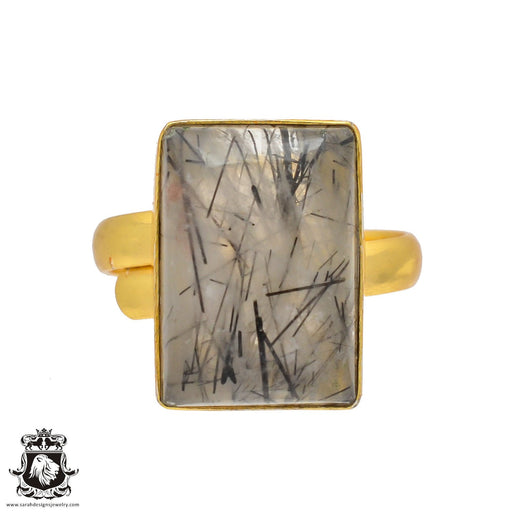 Size 10.5 - Size 12 Adjustable Tourmalated Quartz  24K Gold Plated Ring GPR309
