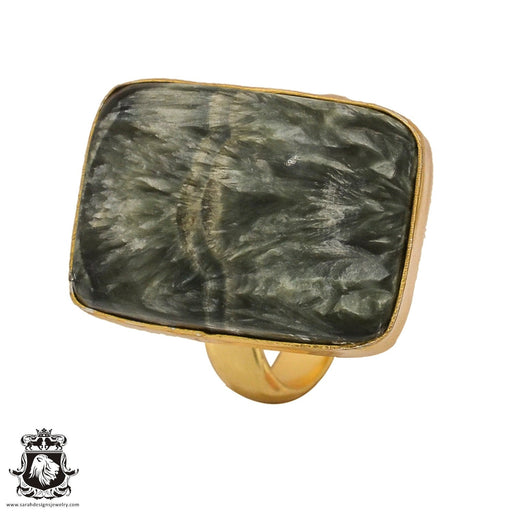Size 7.5 - Size 9 Adjustable Seraphinite 24K Gold Plated Ring GPR501