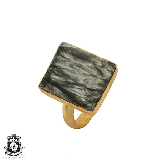 Size 10.5 - Size 12 Adjustable Seraphinite 24K Gold Plated Ring GPR502