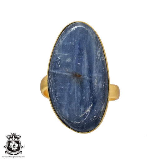 Size 10.5 - Size 12 Adjustable Kyanite 24K Gold Plated Ring GPR517
