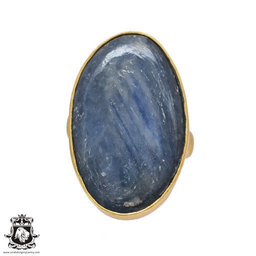 Size 7.5 - Size 9 Adjustable Kyanite 24K Gold Plated Ring GPR518