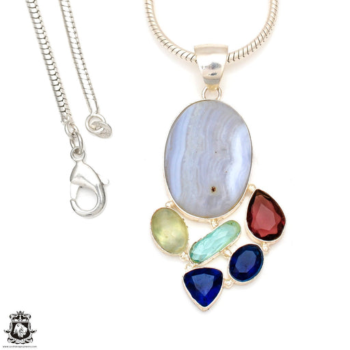 Blue Lace Agate Pendant 4mm Snake Chain P6978