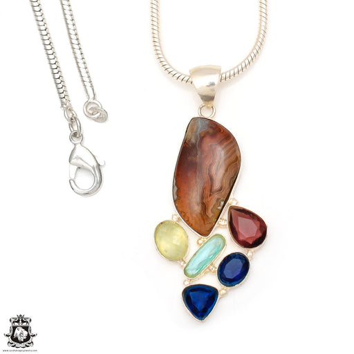 Stick Agate Pendant 4mm Snake Chain P7008