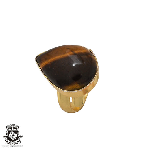 Size 8.5 - Size 10 Adjustable Tiger's Eye 24K Gold Plated Ring GPR559