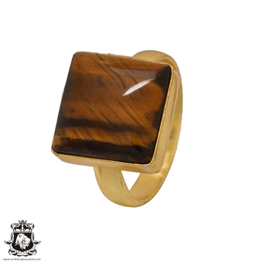 Size 7.5 - Size 9 Adjustable Tiger's Eye 24K Gold Plated Ring GPR560