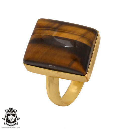Size 7.5 - Size 9 Adjustable Tiger's Eye 24K Gold Plated Ring GPR566