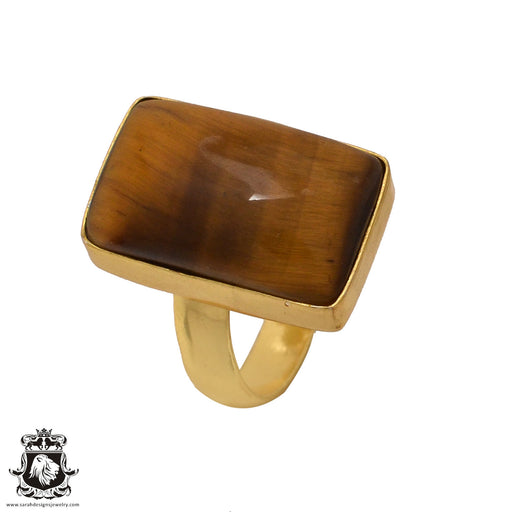Size 6.5 - Size 8 Adjustable Tiger's Eye 24K Gold Plated Ring GPR570