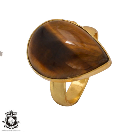 Size 8.5 - Size 10 Adjustable Tiger's Eye 24K Gold Plated Ring GPR576