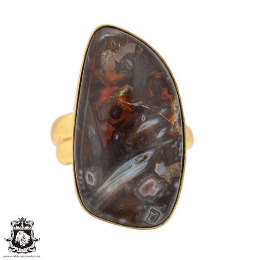 Size 9.5 - Size 11 Adjustable Stick Agate 24K Gold Plated Ring GPR587