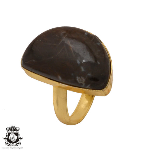 Size 9.5 - Size 11 Adjustable Stick Agate 24K Gold Plated Ring GPR589