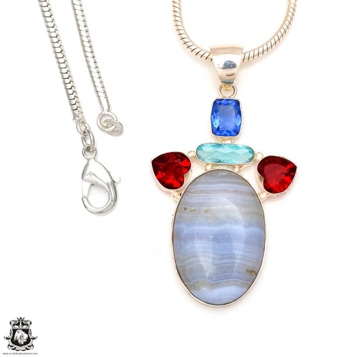 Blue Lace Agate Pendant 4mm Snake Chain P7105