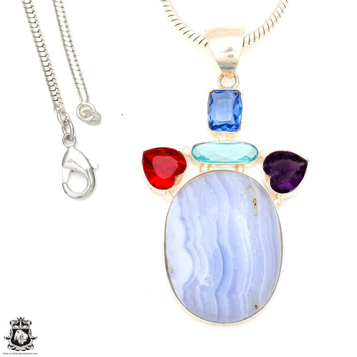Blue Lace Agate Pendant 4mm Snake Chain P7140