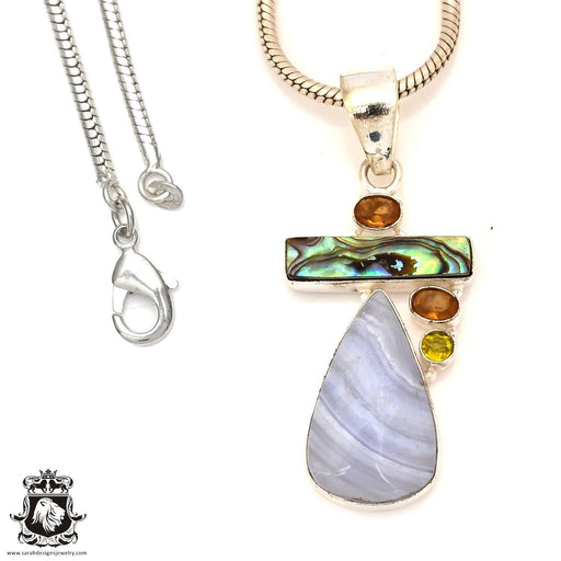 Blue Lace Agate Abalone Pendant 4mm Snake Chain P7170