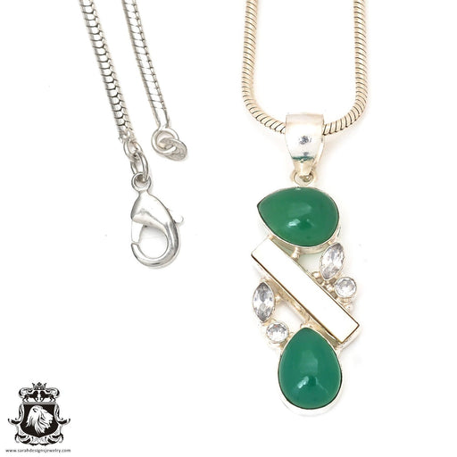 Emerald Pearl Pendant 4mm Snake Chain P7227