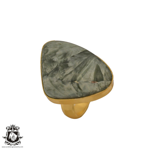 Size 6.5 - Size 8 Adjustable Seraphinite 24K Gold Plated Ring GPR635