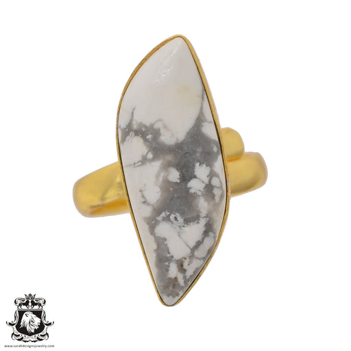 Size 7.5 - Size 9 Adjustable Howlite White Buffalo Turquoise 24K Gold Plated Ring GPR638