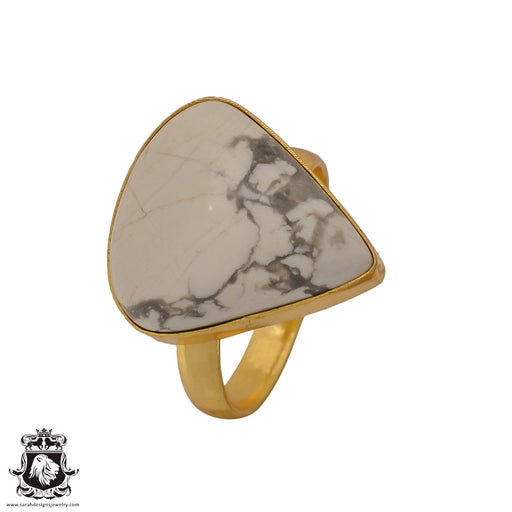 Size 10.5 - Size 12 Adjustable Howlite White Buffalo Turquoise 24K Gold Plated Ring GPR639