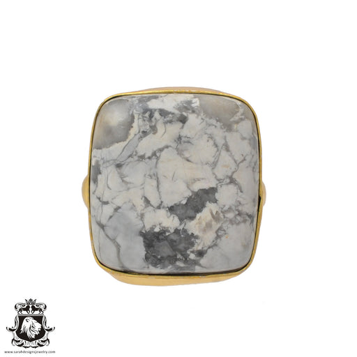 Size 8.5 - Size 10 Adjustable Howlite White Buffalo Turquoise 24K Gold Plated Ring GPR643