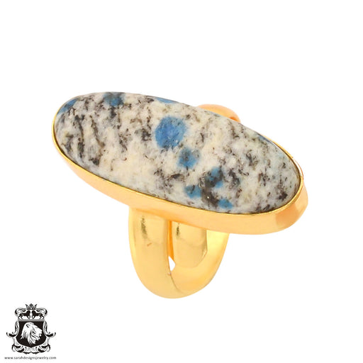 Size 7.5 - Size 9 Adjustable K2 Jasper Afghanite 24K Gold Plated Ring GPR758