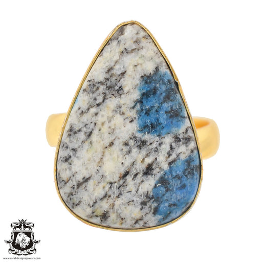 Size 9.5 - Size 11 Adjustable K2 Jasper Afghanite 24K Gold Plated Ring GPR760
