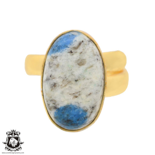 Size 8.5 - Size 10 Adjustable K2 Jasper Afghanite 24K Gold Plated Ring GPR766
