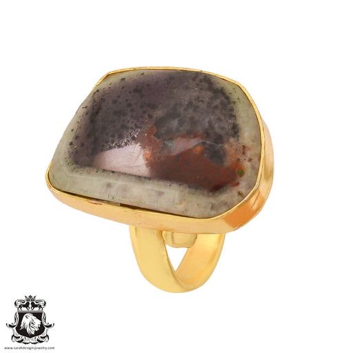 Size 8.5 - Size 10 Adjustable Auralite 23 Crystal 24K Gold Plated Ring GPR789