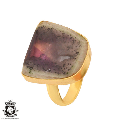 Size 7.5 - Size 9 Adjustable Auralite 23 Crystal 24K Gold Plated Ring GPR790